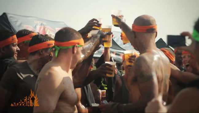 Tough Mudder: After the run, the finishers get their finisher headband and a cold beer