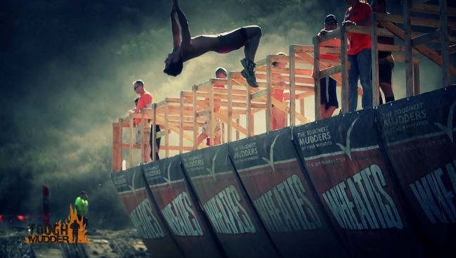 Tough Mudder: Cool Mudders do a backflip at Walk the Plank
